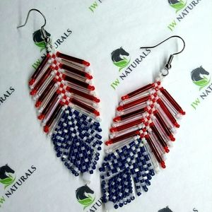 ⭐HP⭐ Handmade USA American Flag Feather Earrings